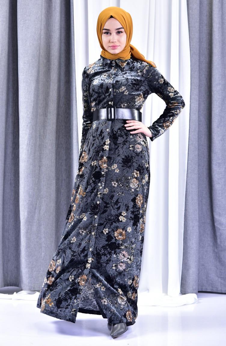 700fbb87000e0 Çiçekli Kadife Elbise 2991-01 Siyah