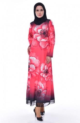 فستان بتصميم مُطبع باحجارلامعة 99163-02 لون احمر\ 99163-02