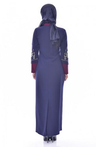 فستان بتفاصيل مُطرزة 1504-02 لون ارجواني وكحلي 1504-02