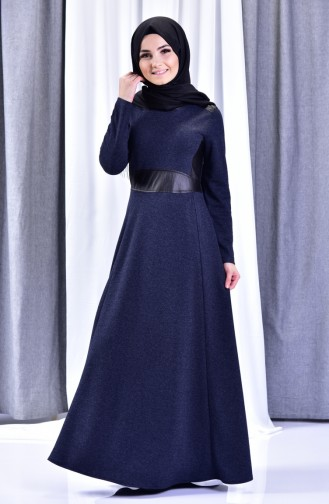 Leather Detail Dress 1520-01 Navy Blue 1520-01