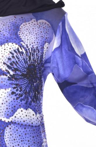 Taş Baskılı Elbise 99163-03 Mavi