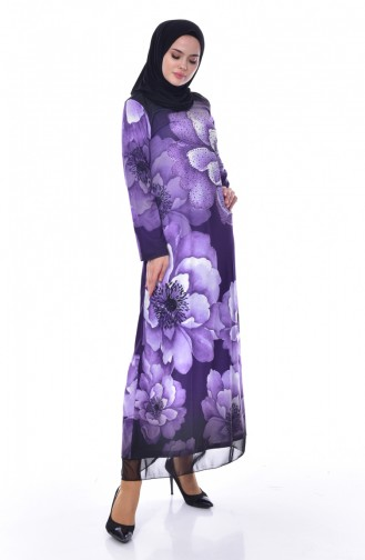 فستان بتصميم مُطبع باحجارلامعة 99163-04 لون بنفسجي 99163-04