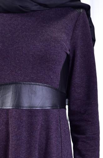 Leather Detail Dress 1520-04 Purple 1520-04