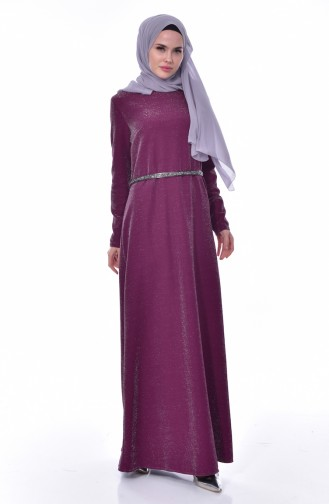 فستان بتصميم حزام للخصر 3566-02 لون ارجوني داكن 3566-02