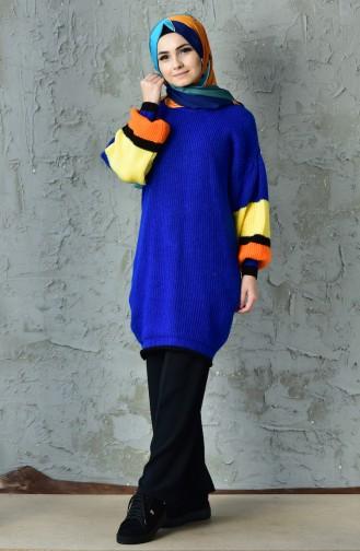 بلوز مُحاك بتصميم اكمام بالون 3098-09 لون ازرق 3098-09