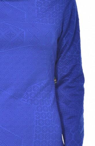 فستان بتصميم مُطبع  2031-02 لون ازرق 2031-02