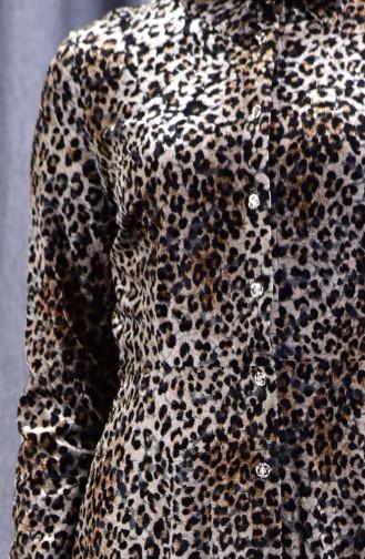 Leopar Desenli Kadife Elbise 2991A-01 Kahverengi