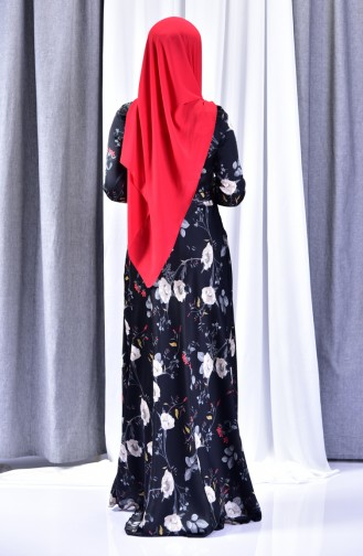 Casual Patterned Dress 8341-02 Black 8341-02