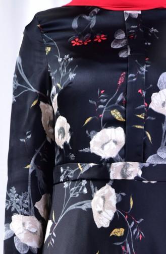 فستان كاجوال بتصميم مُطبع 8341-02 لون اسود 8341-02