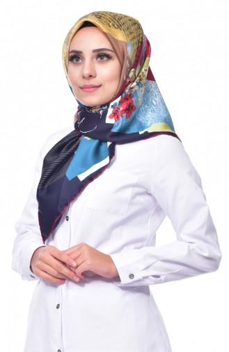 Çiçek Desenli Rayon Eşarp 2088-05 Turkuaz 05