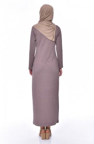 فستان بتصميم مُطبع  2031-03 لون بُني مائل للرمادي 2031-03