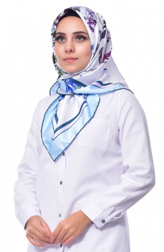 Flower Patterned Scarf 70082-09 Baby Blue 09