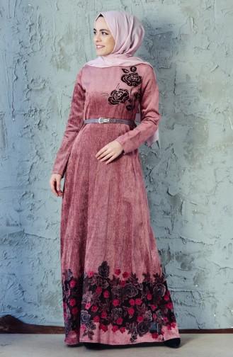 فستان مخمل يتميز بتصميم حزام للخصر 3030-01 لون رودي باهت 3030-01