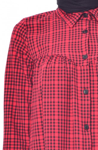 Plaid Long Shirt Tunic 1215-04 Red 1215-04