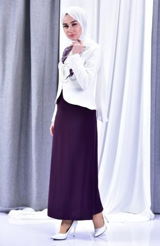 Jacket Skirt Double Suit 1046-09 Light Beige Purple 1046-09