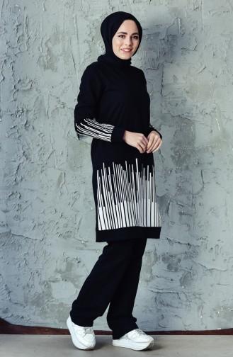 Striped Tracksuit 0395-01 Black 0395-01