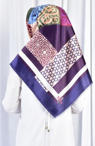 Geometric Patterned Taffeta Shawl 70079-04 Purple Beige 04
