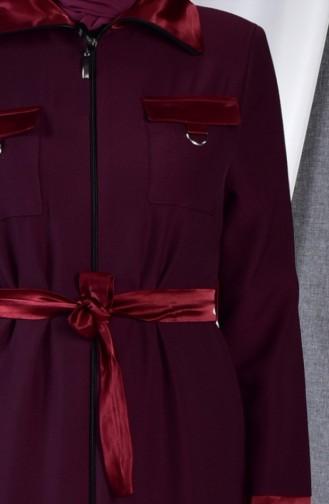Belted Abaya 0097-01 Bordeaux 0097-01
