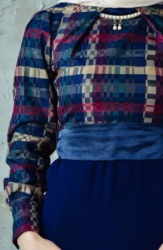 فستان بتصميم حزام خصر2119-03 لون خمري 2119-03