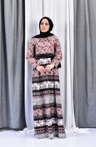 Printed Belted Dress 2515-02 Claret Red 2515-02