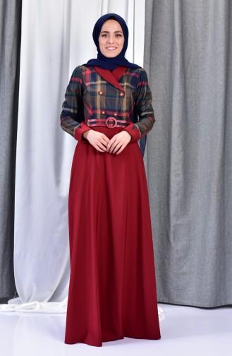 Robe a Ceinture 2541-02 Bordeaux 2541-02