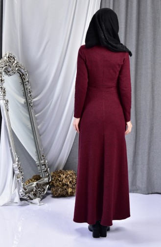 Kemer Detaylı Elbise 7128-01 Bordo