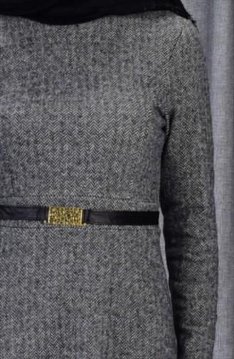 فستان بتصميم حزام للخصر 7128-05لون رمادي 7128-05