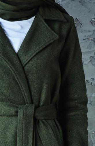 كاب صوف بتصميم حزام للخصر 8404-02 لون اخضر كاكي 8404-02