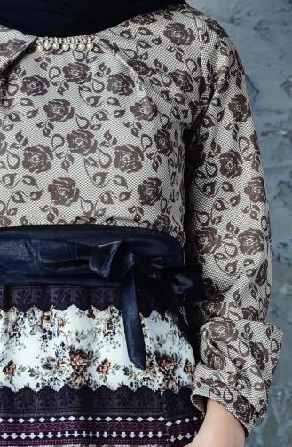 Printed Belted Dress 2515-04 Khaki 2515-04