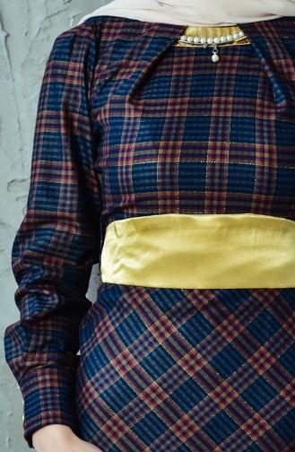 Robe a Motifs Carreaux avec Collier 2049-02 Bleu Marine Moutarde 2049-02
