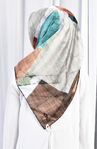 شال رايون بتصميم مُطبع 70080-01 لون بني فاتح 01