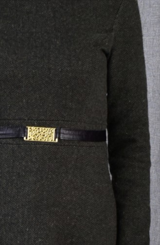 Dunkel Khaki Hijap Kleider 7128-04