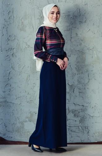 فستان بتصميم حزام خصر2119A-01 لون كحلي 2119A-01