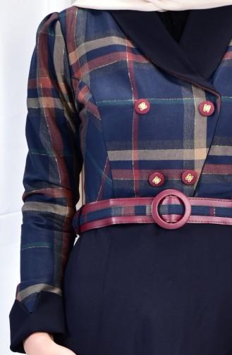 فستان بتصميم حزام للخصر 2541-04 لون كحلي 2541-04
