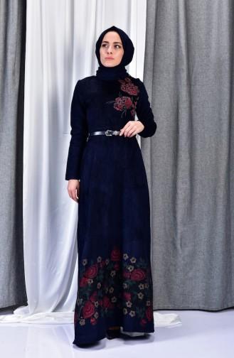 فستان مخمل يتميز بتصميم حزام للخصر 3030-03 لون كحلي 3030-03