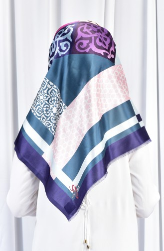 Geometric Patterned Taffeta Shawl 70079-01 Purple Oil Blue 01