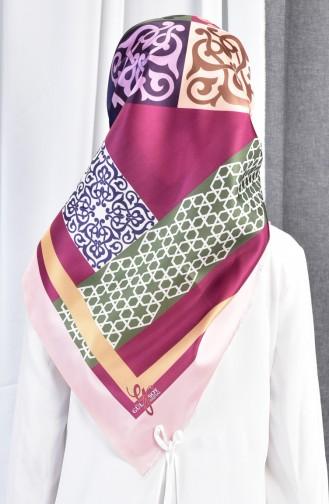 شال التافتا بتصميم مُطبع 70079-10 لون وردي 10