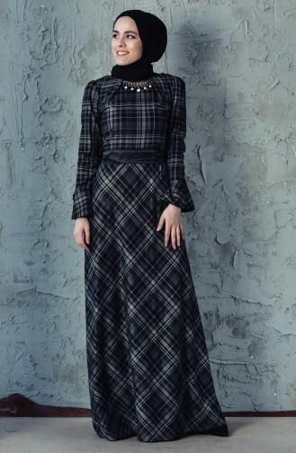Ekose Desenli Kuşaklı Elbise 2062-02 Siyah