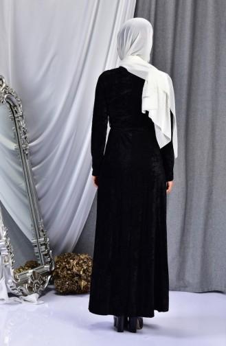 Pearls Velvet Dress 3032-01 Black 3032-01
