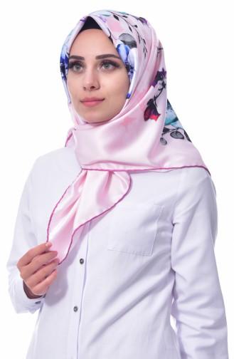 شال بتصميم مورّد 70081-05 لون وردي وزهري 05
