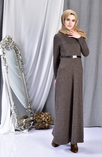 فستان بتصميم حزام للخصر 7128-03 لون بُني مائل للرماي 7128-03