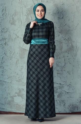 Robe a Motifs Carreaux avec Collier 2049-01 Noir Vert 2049-01