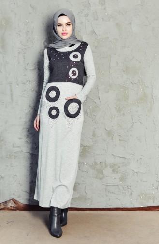Robe Imprimée de Pierre 99165-01 Gris Clair 99165-01