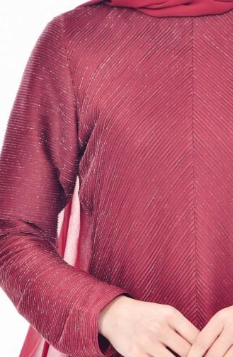 ريتا فستان لامع مُزين بتفاصيل من الشيفون 60719-01 لون خمري 60719-01