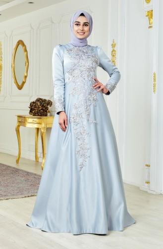فستان سهرة يتميز تفاصيل من الؤلؤ 6137-01 لون رمادي 6137-01