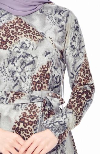 دلبر فستان بتصميم مُطبع وحزام للخصر 7070-02 لون رمادي 7070-02
