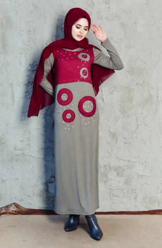 Taş Baskılı Elbise 99165-05 Gri 99165-05