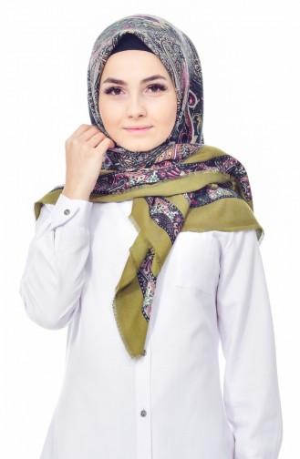 Karaca Desenli Yün Eşarp 90522-03 Haki Siyah 90522-03