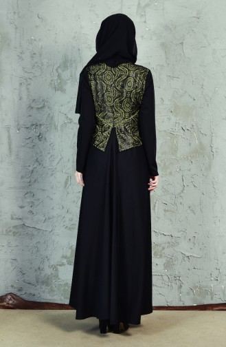 فستان بتفاصيل من السحاب مُزين بالدانتيل 1623875-991 لون اسود واخضر كاكي 1623875-991