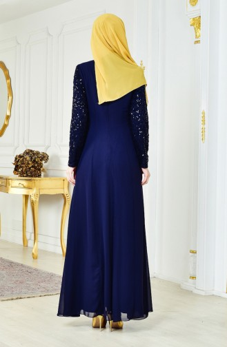 Sequined Chiffon Dress 52714-02 Navy Blue 52714-02